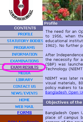 Open University Bangladesh Result
